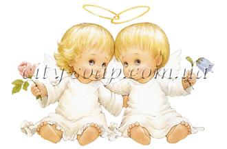 Картинка на водорастворимой бумаге, Ангелочки 02002: ангелочки - 1 | city-soap.com.ua