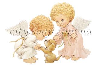 Картинка на водорастворимой бумаге, Ангелочки 02005: ангелочки - 1 | city-soap.com.ua