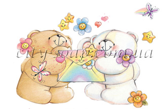 Картинка на водорастворимой бумаге, Медведи 03011: медведи - 1 | city-soap.com.ua