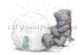 Картинка на водорастворимой бумаге, Медведи 03013