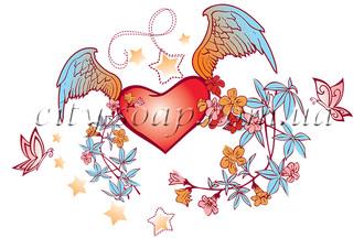 Картинка на водорастворимой бумаге, Сердце 04008