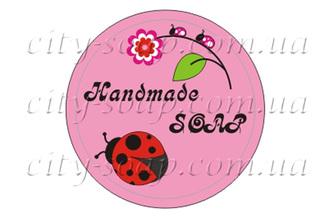 """Наклейка """"Handmade soap божья коровка"""": наклейки - 1   city-soap.com.ua"""