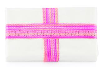 Лента полосатая малиновая: ленты и бечевка - 1 | city-soap.com.ua