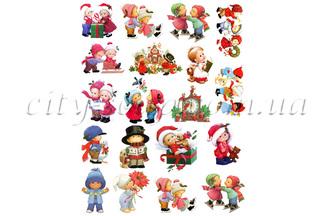 Картинки на водорастворимой бумаге, Дети набор: новый год и зима - 1 | city-soap.com.ua
