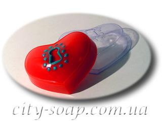 """Форма пластиковая """"Сердце на замочке"""": формы пластиковые для мыла - 1   city-soap.com.ua"""